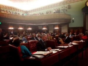 A packed City Council chamber last night. (Photo: Twitter/@NYCCouncil)