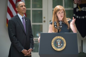 President Barack Obama and Samantha Power. (JIM WATSON/AFP/Getty Images)