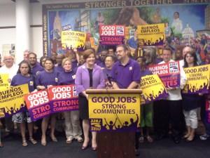 Christine Quinn receiving the endorsement.
