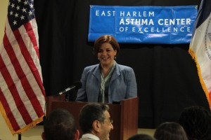 City Council Speaker Christine Quinn delivering her speech Monday. (Photo: Twitter/Quinn4NY)