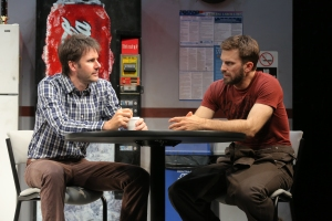 Josh Hamilton and Fred Weller in 'Reasons To Be Happy.' (Photo by Joan Marcus)