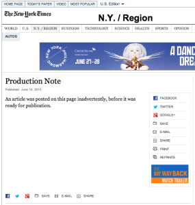 A Screenshot of the original New York Times story after it was inadvertently posted.