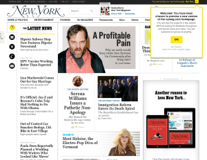 Screenshot of the NYMag's new homepage design.