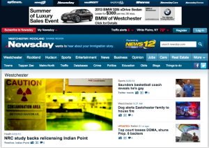 Screenshot of Newsday's Westchester site.