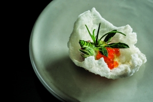 Trout roe on puffed rice.