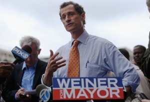 Anthony Weiner launching his mayoral campaign. (Photo: Mario Tama/Getty Images)