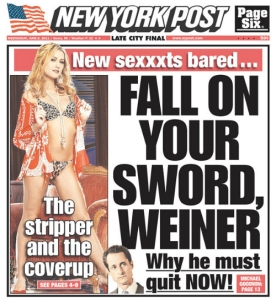 A typical New York Post cover.