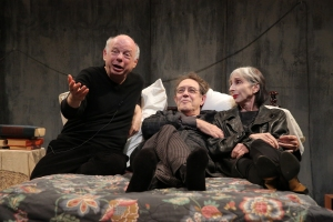 Wallace Shawn, Larry Pine and Deborah Eisenberg in 'The Designated Mourner.' (Photo by Joan Marcus)