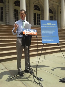 "Anthony Weiner rolls out his New York City ""Bill of Rights"" this afternoon."