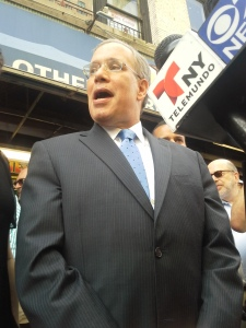 Manhattan Borough President Scott Stringer deflects questions about his new opponent, Eliot Spitzer.