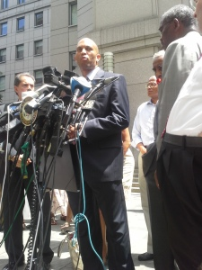 Congressman Hakeem Jeffries and the city's Congressional delegation today.