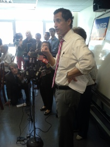 Anthony Weiner addresses seniors in Flushing, Queens.