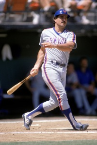 Keith Hernandez follows his swing in a 1988 game.