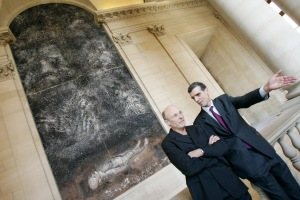 Kiefer with Henri Loyrette, then director of the Louvre, in 2007. (Getty Images)
