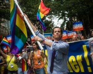 Anthony Weiner campaigning at the Pride Parade earlier this year. (Photo: Getty)