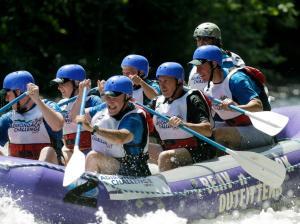Mayor Michael Bloomberg on a raft! (Photo: The Associated Press via Twitter)