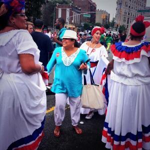 "Bill de Blasio supporters ""getting ready to cha cha in the Bronx Dominican Day Parade."" (Photo: Twitter/deBlasioNYC)"