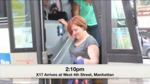 Christine Quinn. On a bus. (Screengrab: SILive.com)