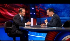 Eliot Spitzer on The Colbert Report last night. (Photo: ColbertNation.com)