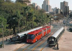 Mr. Lander wants physical station structures, like this line in Curitiba, Brazil.