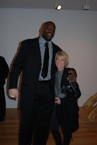 Yablonsky with Shaquille O'Neal at Flag, where he organized a show in 2010. (Courtesy Flag)