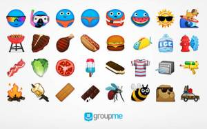 GroupMe's collection of summer-themed emoji