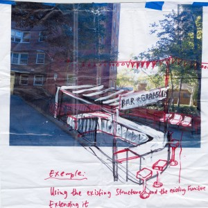 Preparatory drawing by Hirschhorn for the 'Gramsci Monument.' (© Thomas Hirschhorn)