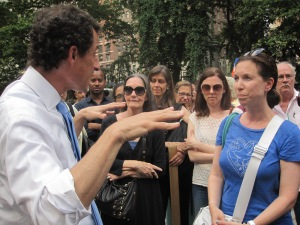 Anthony Weiner talking to voters on the Upper West Side.