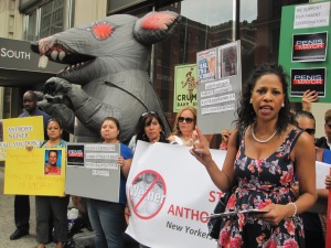 Parents protested outside Anthony Weiner's building Friday.