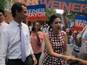 Huma Abedin greeting voters in Harlem.