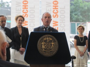 Mayor Bloomberg at The New School today.