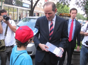 Eliot Spitzer campaigning in Queens.