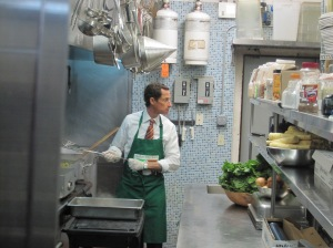 Anthony Weiner volunteering at a soup kitchen today as he tried to change the conversation.