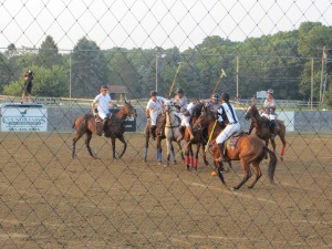 Players compete at the U.S. Open Arena Polo Championship in Medford, N.Y.