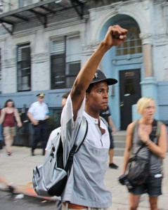 A protester at the 'Justice for Trayvon' march to Times Square (Órla Ryan).