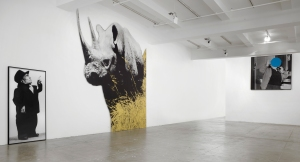 Installation view of 'Dwarf and Rhinoceros (With Large Black Shape),' 1989/2013. (Courtesy the artist and Marian Goodman Gallery)