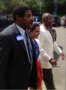 Reshma Saujani with William Scarborough and Gregory Meeks. (Photo: Saujani campaign)