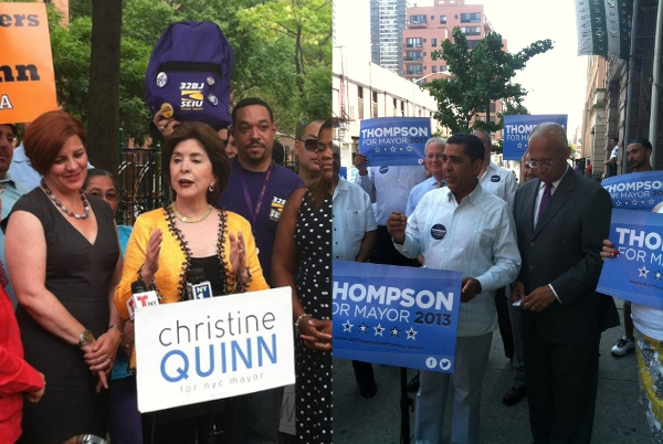 Council Christine Quinn and former Comptroller Bill Thompson at Latino-oriented campaign events.