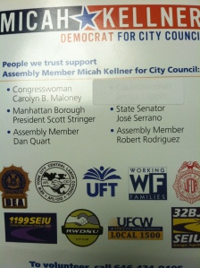 A sheet touting Assemblyman Micah Kellner's council endorsements. Councilwoman Jessica Lappin's appears covered up.