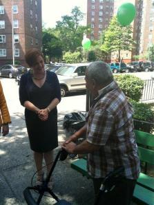 Christine Quinn greets a voter.