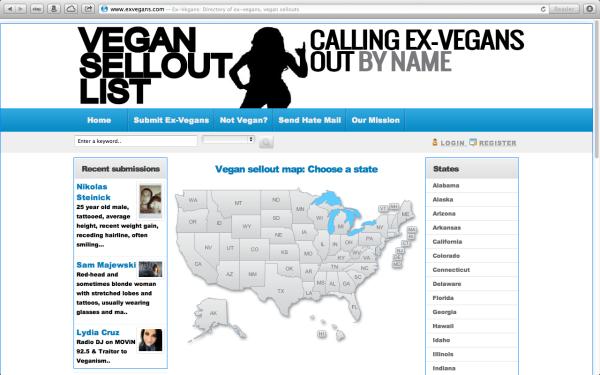 A screenshot from exvegans.com.