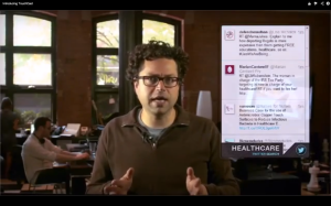 TouchCast CEO Erick Schonfeld shows how a live Twitter feed can be integrated into a video.