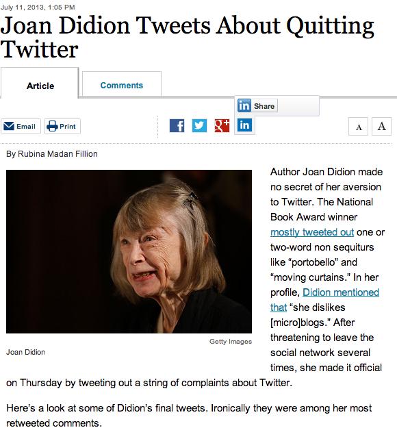 Screenshot of Wall Street Journal story.