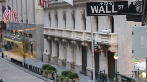 A barren Wall Street in the ad.
