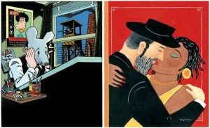 Left: Self portrait by Art Spiegelman. Copyright © 1989 by Art Spiegelman. Right: Cover artwork for the February 15, 1993, issue of The New Yorker by Art Spiegelman. Copyright © 1993 by Art Spiegelman. All images used by permission of the artist and The Wylie Agency LLC.