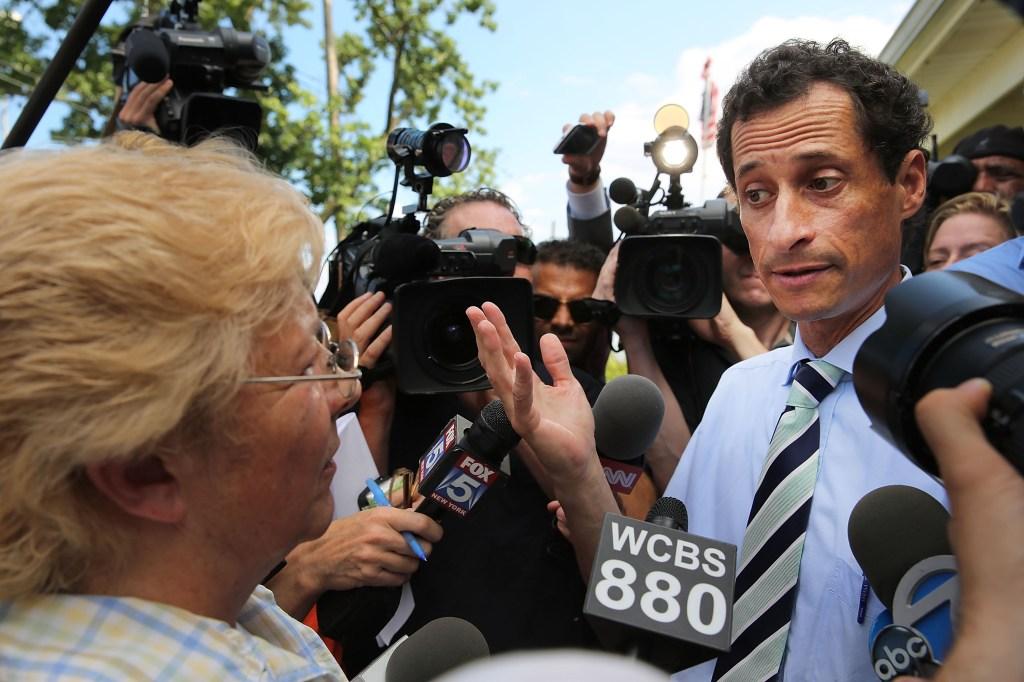 Anthony Weiner in Staten Island today. (Photo: Getty)