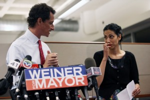 Anthony Weiner and Huma Abedin at a press conference after his latest sexting scandal. (Photo: Getty)
