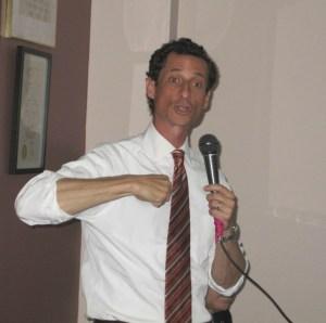 Anthony Weiner speaking at a debate in Jackson Heights.