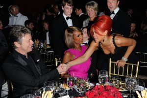 Bowie, Iman and Rihanna. (Getty Images)