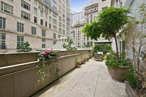 The second-floor unit at 15 CPW has a rare and coveted terrace, facing the courtyard between the Tower and the House.